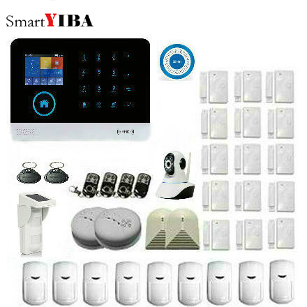 цена на SmartYIBA Wireless WIFI GSM Alarm Security Alarm System APP Control With IP Camera Solar PIR Smoke Sensor Motion Smart House