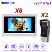 HomeEye 2 to 6 Home Access Control System 720P HD Video Door Phone Video Intercom Touch Screen Voice Message Customize Ringtone apartment wired video door phone audio visual intercom entry system 6 unit