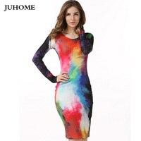 Plus Size S XXL Fashion Women 2017 Gown Empire Waist Knee Length Colourful Elegant Casual Bodycon
