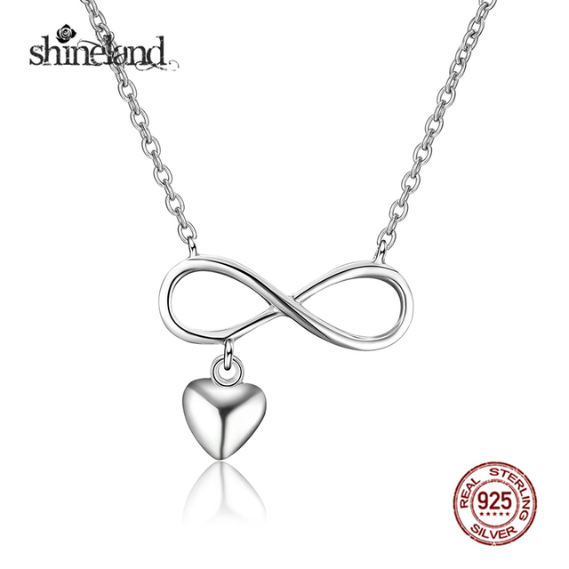 Shineland Hot Sale Infinite Symbol With Heart Necklaces Pendants