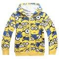 2015 Boys Girls Cartoon despicable me minion zipper hoodies/ children sweatshirts/kids long sleeve coat 5pcs/lot