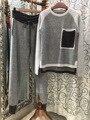 2016 Promoción Top Y Falda Set 2017 Nueva Primavera de alta Calidad de Cachemir 2 Unidades Traje de Color Suéter De Punto + pantalones