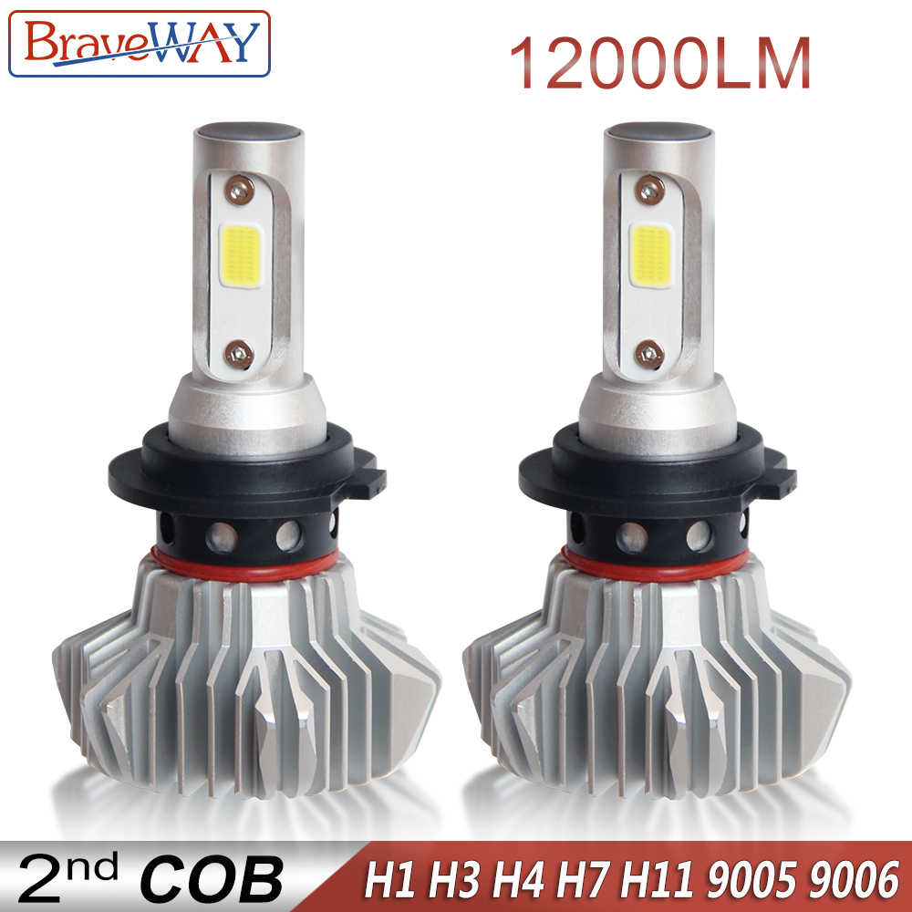 BraveWay Super LED Bulb for Cars Led Headlight for Auto Lamps 12000LM 80W 12V Car Light Ice Bulb H1 H4 H7 H11 9005 9006 HB3 BH4