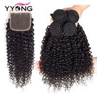 Yyong Hair Peruvian Kinky Curly Wave 4 Bundles With Closure 100% Human Hair Bundles With Lace Closure Hair Non Remy Hair Weave