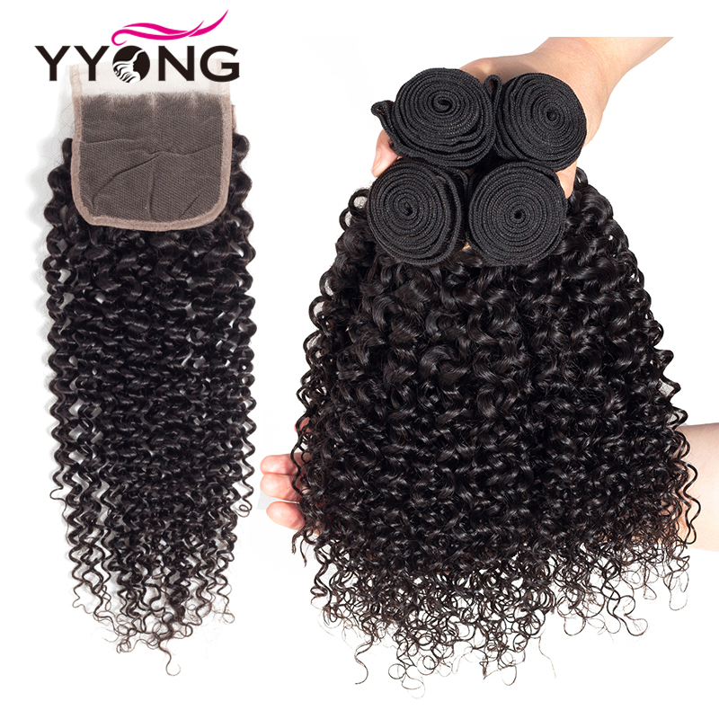 Yyong Hair Peruvian Kinky Curly Wave 4 Bundles With Closure 100% Human Hair Bundles With Lace Closure Hair Non Remy Hair Weave