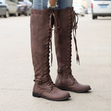 Women Knee High Long Boots 2019 Autumn Leather Flat Punk Shoes Ladies Cross Tied Riding Boots Plus Size 35-43 Zipper Botas Mujer boots women zipper knee high boots square heel shoes femme buckle punk witer botas mujer plus size shoes 35 43