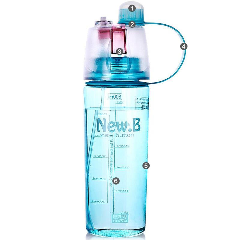 400ml/600ml Spray Water Bottle Sprayer Portable Outdoor Cycling Sports Bottle Space Pot Travel Nutrition Bottle