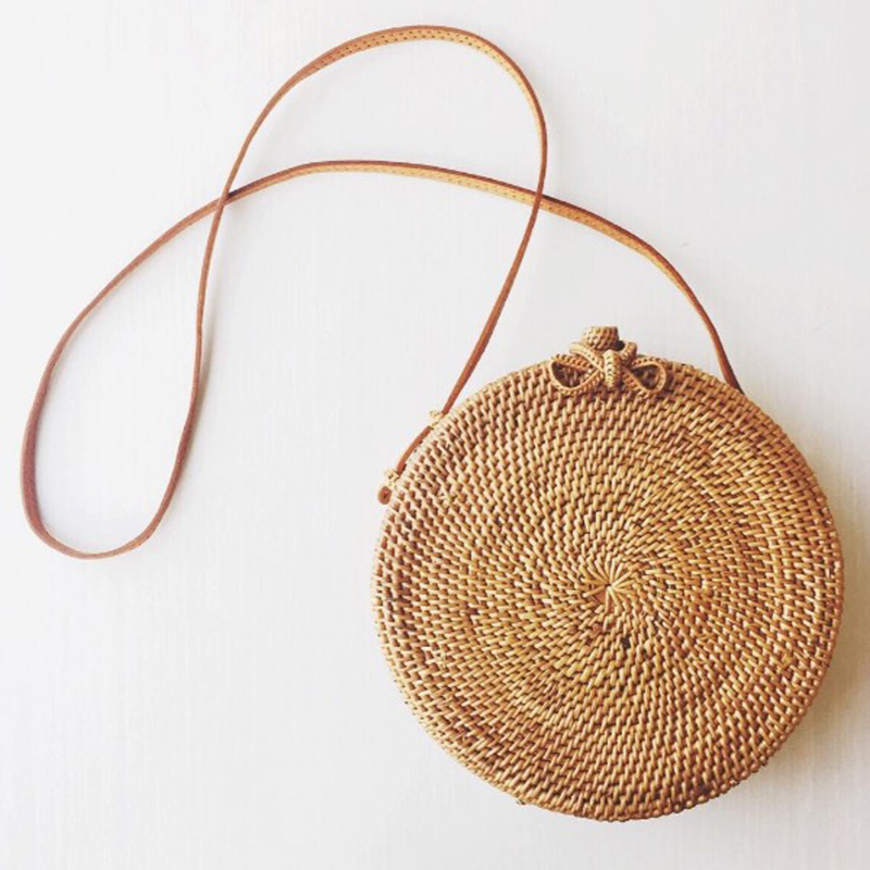 Bali Island Hand Woven Bag Round Butterfly buckle Rattan Straw Bags Satchel Wind Bohemia Beach Circle Bag