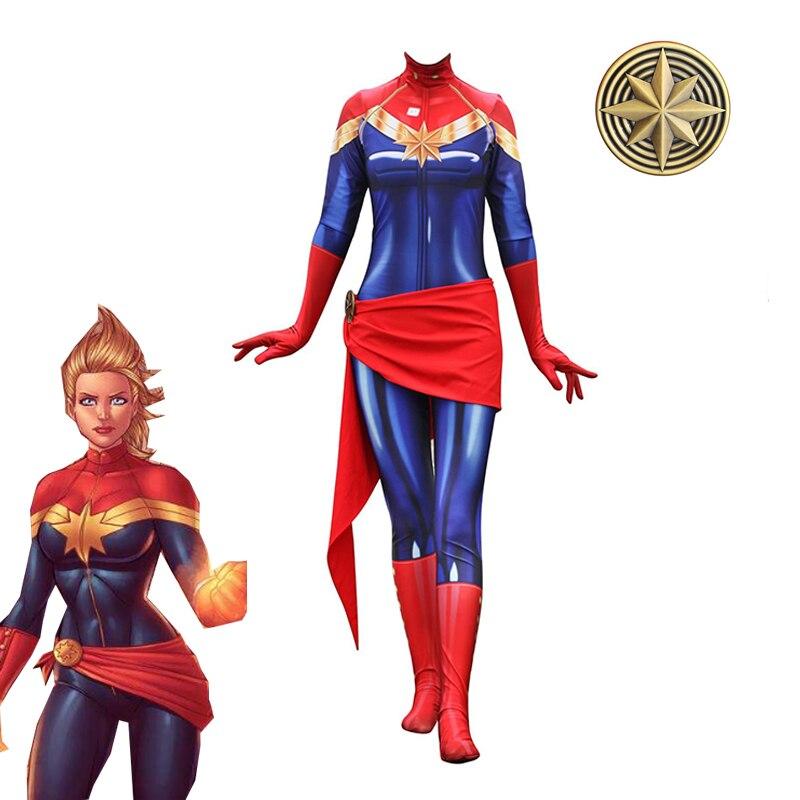Hallween Captain Marvel Bodysuit Cosplay Costume Ms Marvel Zentai Suit Jumpsuits