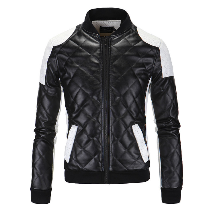 New High Quality PU Leather Jacket Men Fashion Patchwork Motorcycle Leather Jacket Europe And America Big Size 5XL Leather Coat