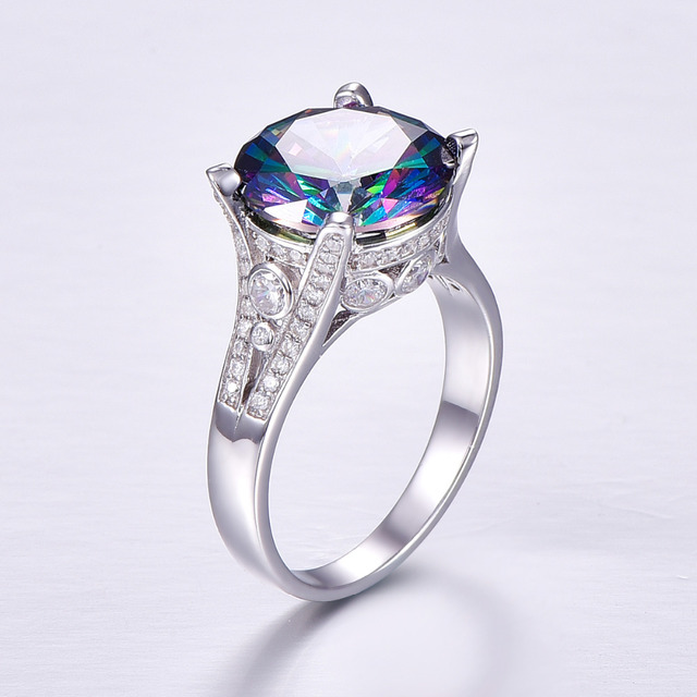 Rainbow Topaz Engagement Wedding Ring Set 925 Sterling Silver Rings For Women Band Wedding Rings Promise Ring Bridal Jewelry