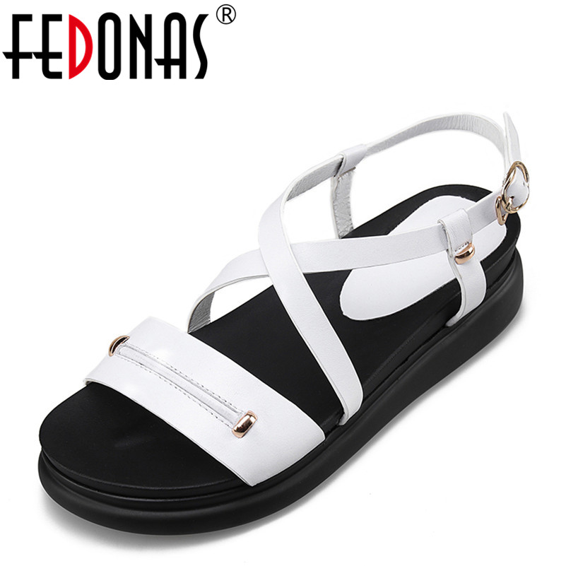 FEDONAS 2018 New Spring Summer Women Genuine Leather Shoes Female Robe Thick Platform Buckle With Roman Black White Sandals Shoe 2014 spring and summer new elegant gold buckle leather shoes women shoes carrefour