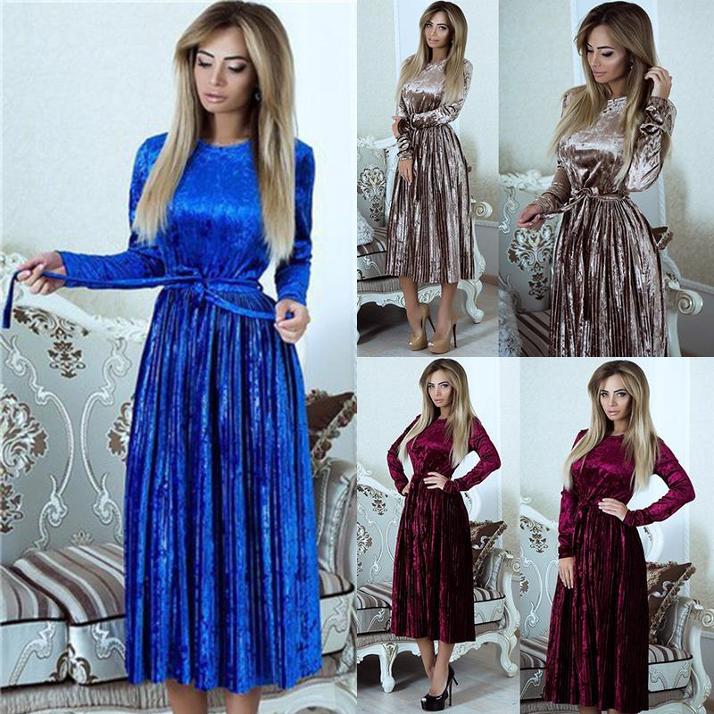 Susi&Rita Vintage Long Sleeve Velvet Dress Women 2019 Bodycon Belted Midi Dress Spring Pleated Party Dresses Vestidos Robe Femme 1