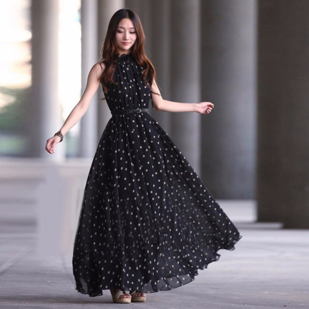 2018 Women Sexy Summer Dot Dress Boho Long Maxi Chiffon Dress Sleeveless Polka Dress y9