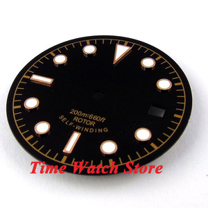 Image 2 - 30.4mm black sterial dial luminous rose Gold marks Watch Dial fit 2824 2836 Automatic Movement D24