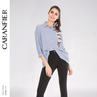 CARANFIER Women Classic Striped Blouse Shirt Clothing Floral Embroidery Blue Women Tops 2018 Long Sleeve Women
