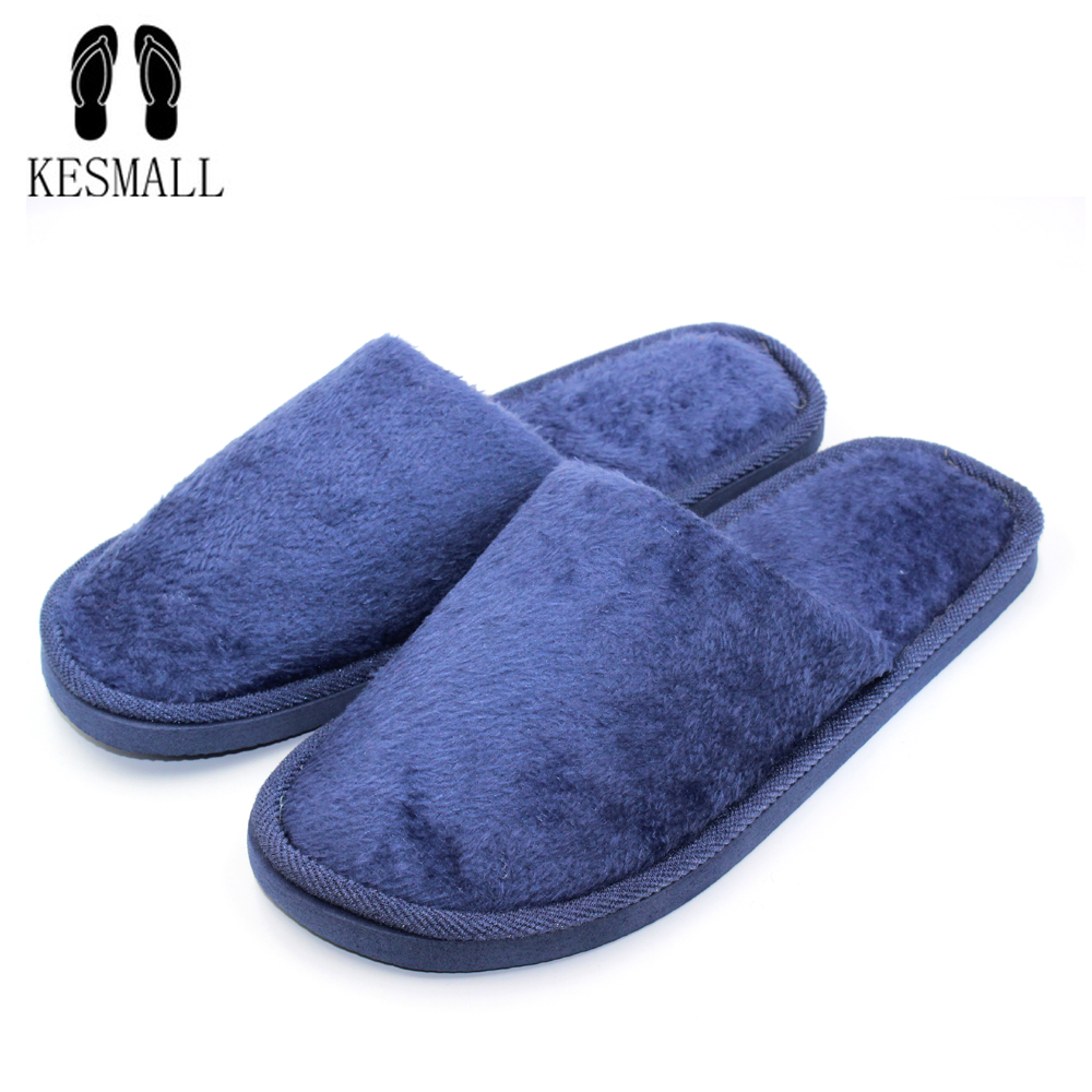 KESMALL 3 Colors New Fashion Soft Sole Autumn Winter Warm Home Cotton Plush Slippers Men Indoor\ Floor Flat Shoes Boys Gift S10 novelty cotton winter bow tie men slippers soft keep warm solid plush home grey brown indoor shoes with fur cotton padded shoes