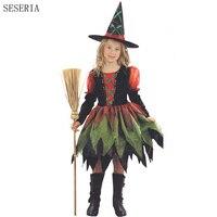 Seseria هالوين الساحرة زي للفتيات لعب دور تأثيري الأداء الراقص هالوين ازياء للأطفال
