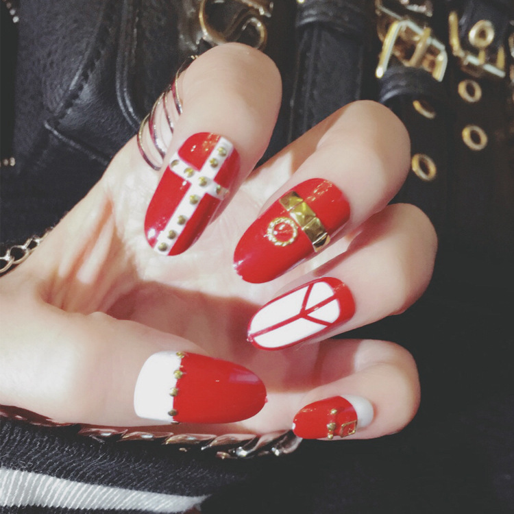 24pcs long 3D false nail tips red red cross style fashion predesign fake nail art with glue for beauty girl