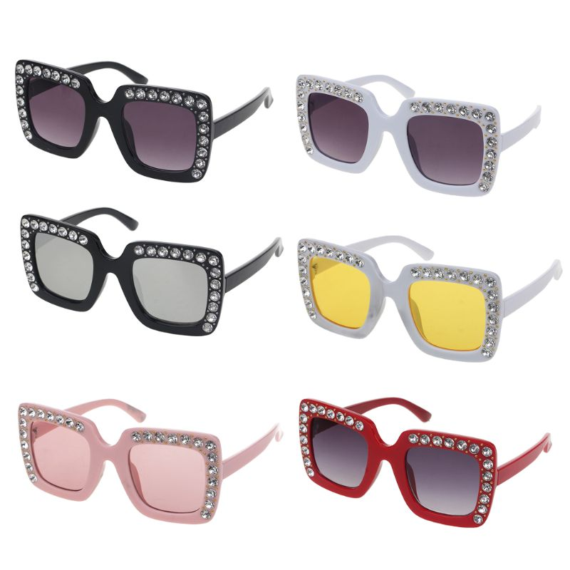 Luxury Rhinestone Kids Sunglasses Square Sun Glasses Children Baby Boys Girls Oculos De Sol Feminino Hats & Caps