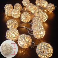 5M 20 LED Warm White Rattan Ball LED String Lighting Holiday Christmas Wedding Party Curtain Decoration