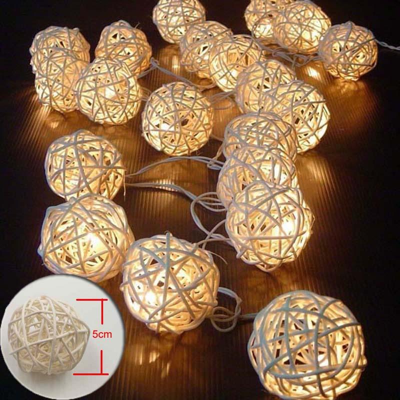 5M Christmas Lights Outdoor Guirlande Lumineuse Led String Fairy Lights Warm White Rattan Ball Lights Garland Luces Decorativas