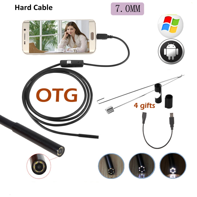 2M 5M USB Endoscope Camera IP67 Waterproof Hard Cable 6LED 720P 7mm Endoscope Camera Pipe Inspection For Android Phone PC Camera2M 5M USB Endoscope Camera IP67 Waterproof Hard Cable 6LED 720P 7mm Endoscope Camera Pipe Inspection For Android Phone PC Camera