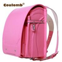 Coulomb Orthopedic Backpack For Children School Bag Kids & Baby Randoseru Japanese PU Hasp Waterproof Backpacks 2018 New