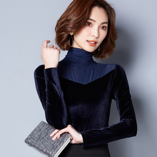 Long Sleeve T-shirt Women 2018 Spring Autumn New Thickening Turtleneck Gauze Tops Plus Size Women's Clothing