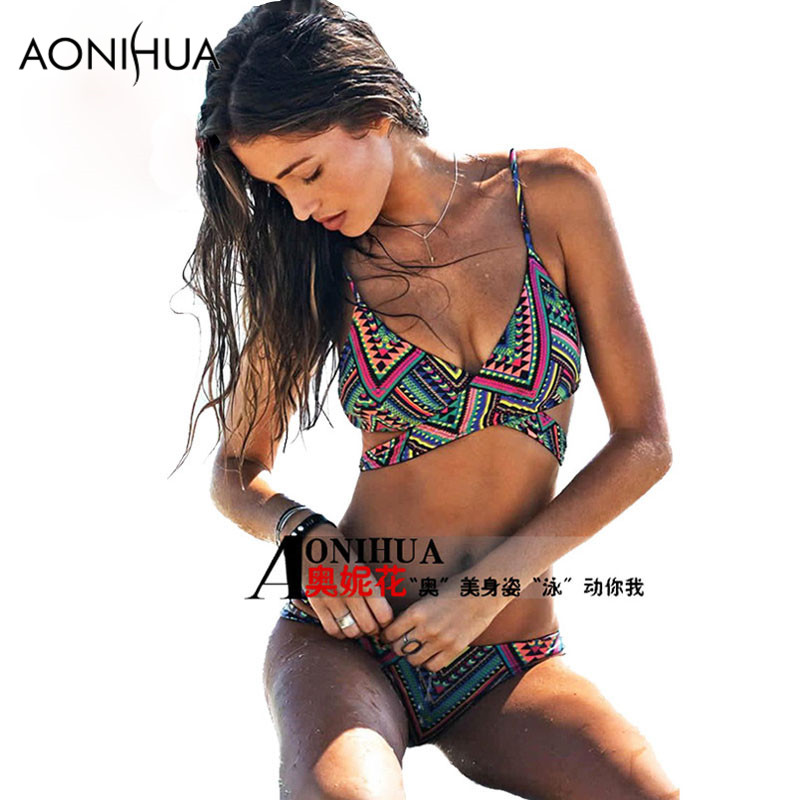 AONIHUA Halter Brazilian Bikini Set Women Sexy Cross Push up beach Swimsuit Print summer female print Swimming bathing suit 1625 in Bikinis Set from Sports Entertainment