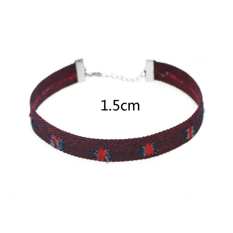 2017 Simple Harajuku Style Jeans Chocker Denim Choker Necklace for Women Girls Torques Collar Bijoux Neck Jewelry Gifts XR364