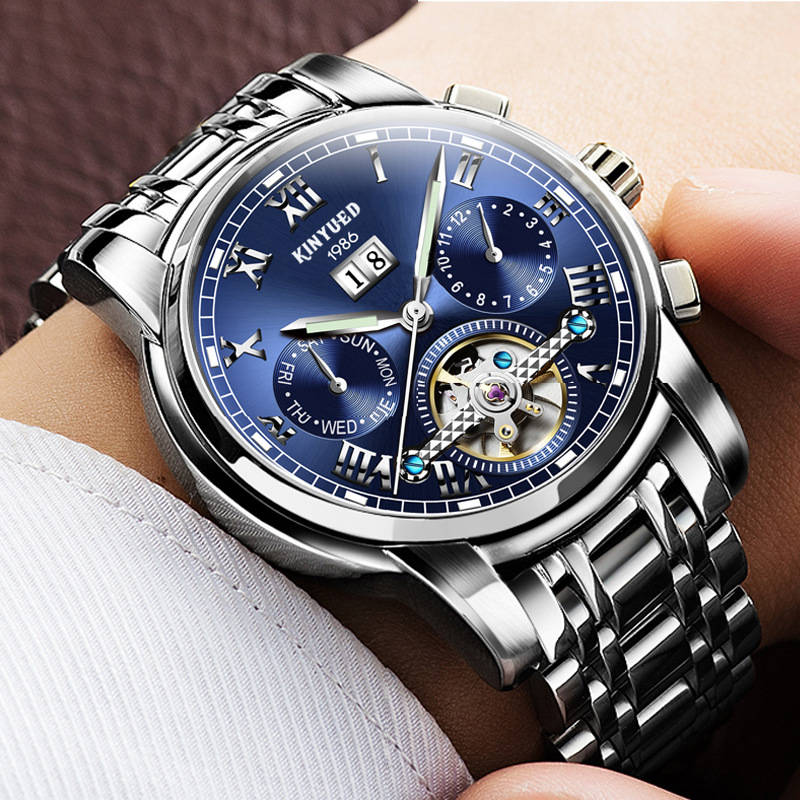Luxury Men's Business Watches Relogio Masculino Fashion Watch 2017 Men Flywheel Auto Mechanical Stainless Steel Wristwatch Gift tevise fashion auto date automatic self wind watches stainless steel luxury gold black watch men mechanical t629a with tool