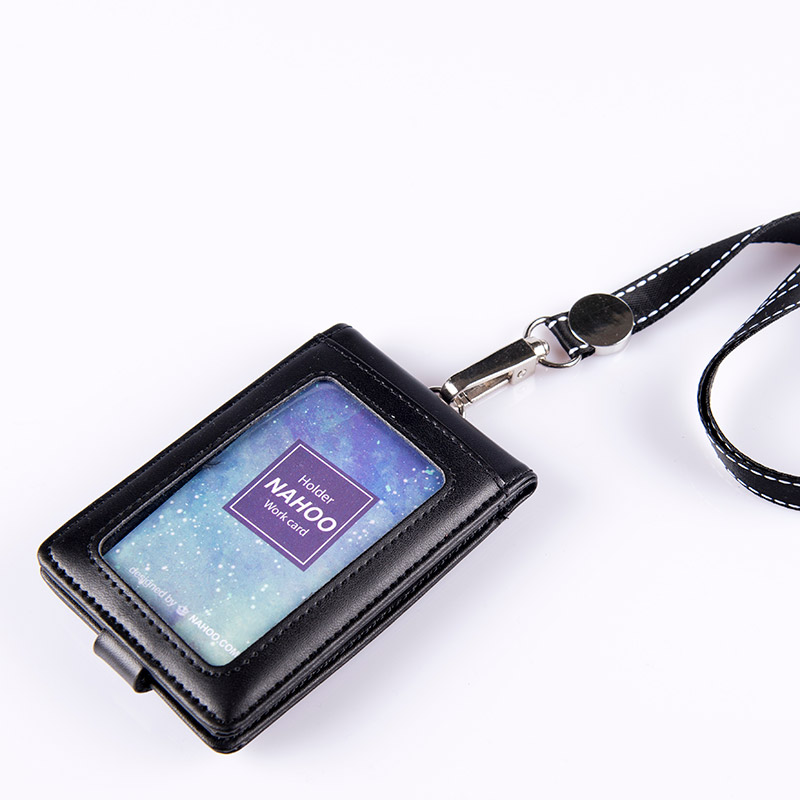 Nahoo Leather Name Badge Holders Double Transparent ID Card Holder Business Card Holder Name Tag Id Card Lanyard Retractabl