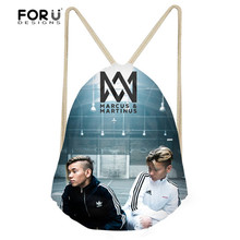FORUDESIGNS Fashion Drawstring Bags Marcus And Martinus Design String Shoulder Backpacks for Girls Boys Leisure Book Bagpacks