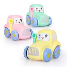 New Plastic 3d Inertia car Mini Cartoon Car Toys Cute Early Learning Education Kids Toys Inertial Screwing Blocks Car for Child(China)