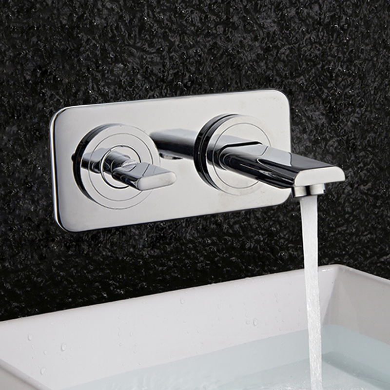 Wall Mounted Chrome Brass Bathroom Basin Faucet Vanity Sink Mixer Tap Single Handle 2 Holes In