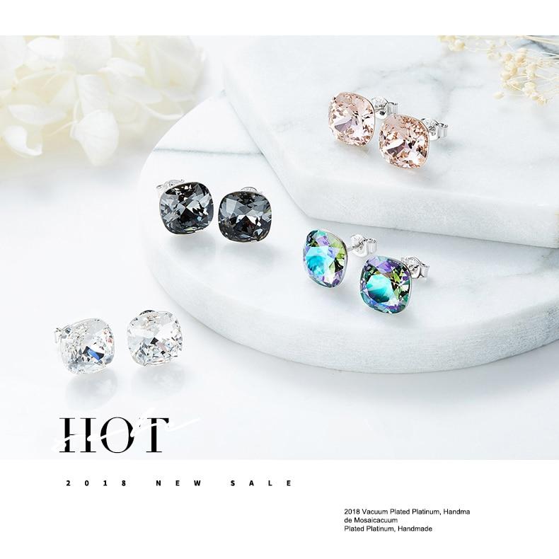 HTB1zjobboLrK1Rjy0Fjq6zYXFXaQ CDE 925 Sterling Silver Earrings Square Embellished with crystals Stud Earrings Women Earrings Womens Jewellery