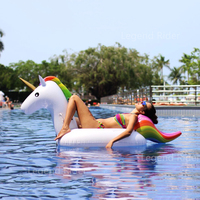 200cm 78 Inch Giant Inflatable Unicorn Pool Float Inflatable Island Beach Air Mattress For Swimming Pool Water Sports Fun Toy