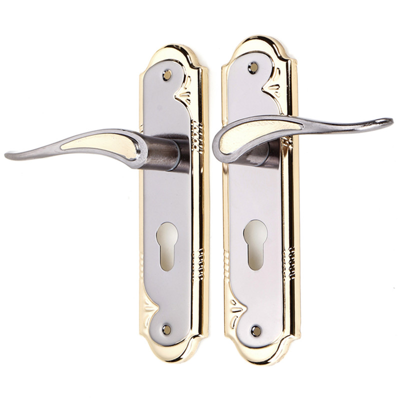 1 Set Gold And Silver Aluminum Alloy Door Lock With Keys Dual Latch Handle For Front Back Door Lever Cylinder1 Set Gold And Silver Aluminum Alloy Door Lock With Keys Dual Latch Handle For Front Back Door Lever Cylinder