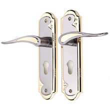 1 Set Gold And Silver Aluminum Alloy Door Lock With Keys Dual Latch Handle For Front Back Door Lever Cylinder