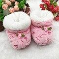 Новорожденный зимние ботинки первые ходунки бренд обуви малыша теплый флис хлопок-ватник обувь Prewalker загрузки 0 - 6 месяцев T0094