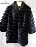 Linhaoshengyue семь веток рукав натуральный норковый мех пальто и длинные участки, пальто норки