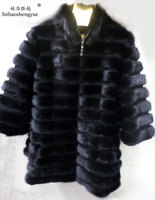 Linhaoshengyue Seven Branch Sleeve real natural mink fur coat and long sections,coat mink