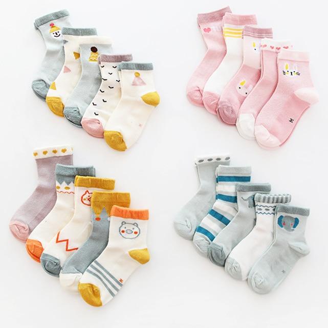 5Paris/lot 2019 New Summer Kids Socks Set Mesh Thin Child Baby Cotton Socks Middle-high Cartoon Boys Girls Socks 1-8Y