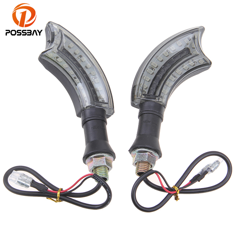 POSSBAY Special Machetes Shape Amber LED Motorcycle Turn Signal Lights Scooter Blinkers Flasher Indicator Universal For Yamaha