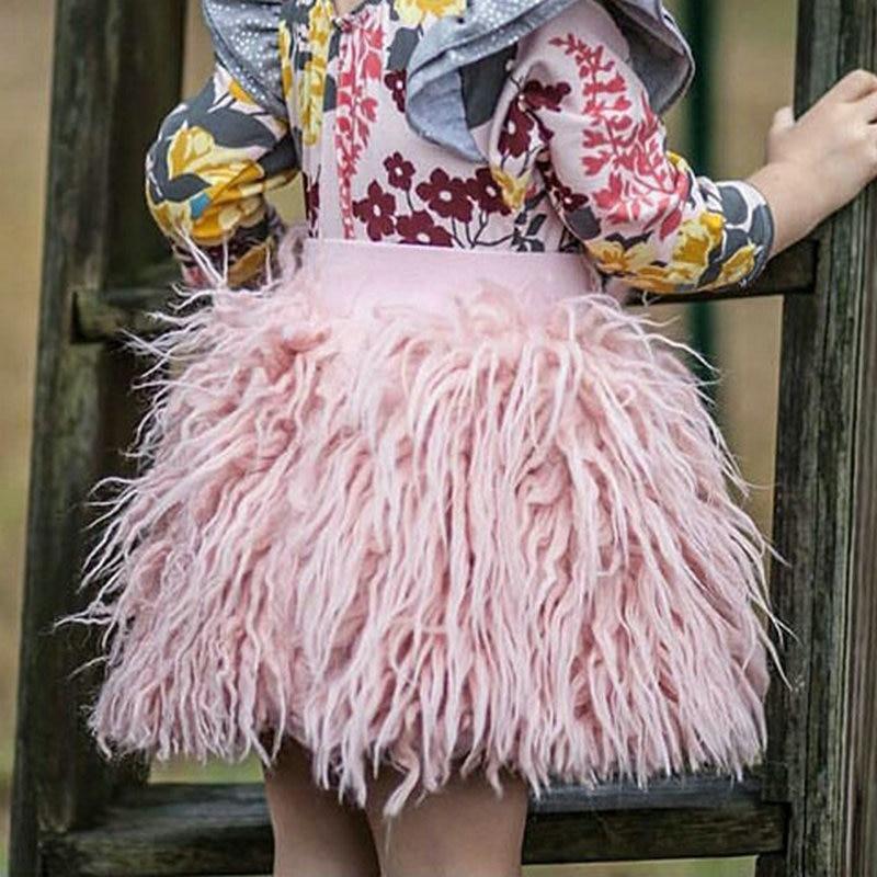 Mädchen Röcke Herbst Winter Rosa Prinzessin Baby Mädchen Imitation Wolle Plüsch Rock Kinder kinder Kleidung Warme Flauschigen Rock Bottom