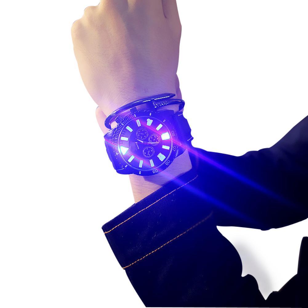 Wholesale Women Men Analog LED Light Faux Leather Quartz Wrist Watch Couple Xmas Gift