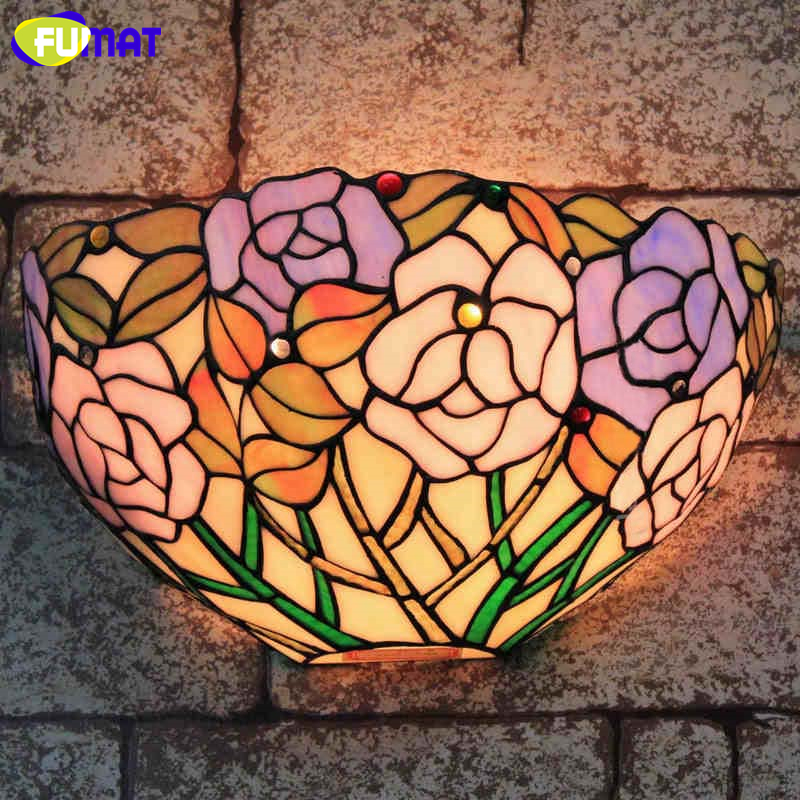FUMAT Stained Glass Wall light European Glass Wall Lamp Sconce For Living Room Bedside Wall Sconces Lamp Glass LED Wall Lights