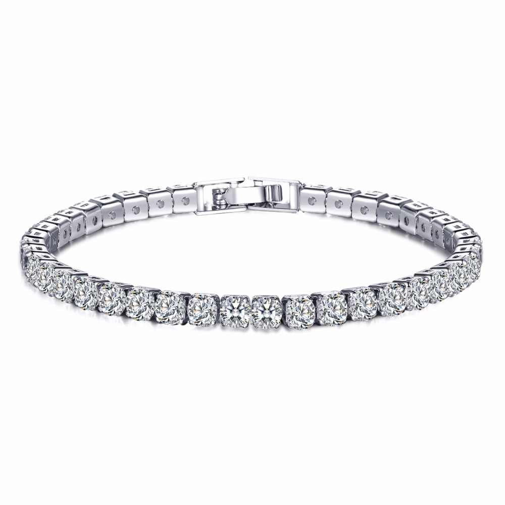 4mm Round Stone AAA Cubic Zirconia Length Charm Bracelet For Women Wedding Party Accessories