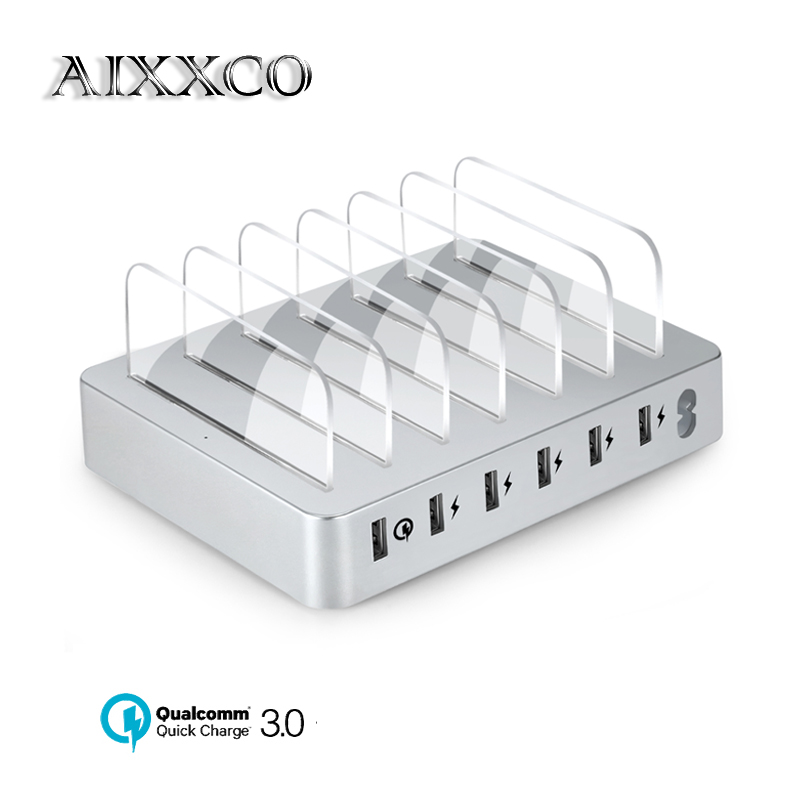 AIXXCO Quick charger 3.0 6-Port USB Charging Station Dock 45W 9A USB Charger Hub Fast USB